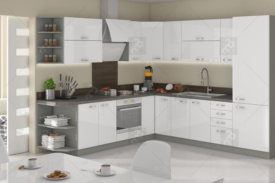 Nabytok-Bogart Kuchyňa bianka biely lesk - komplet l 260x270 - komplet nábytku kuchennych