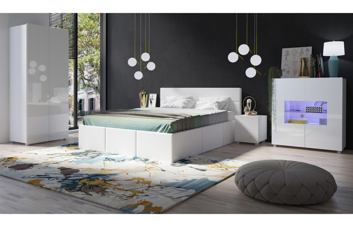 łóżko 160 X 200 Celeste Białe Z Pojemnikiem