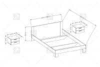 Łoże 160/200 + 2 stoliki nocne Vera 51 Arctic pine jasny/Arctic pine ciemny łóżko 160 x 200