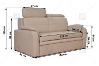 Sofa Amber - Skóra kremowa sofa