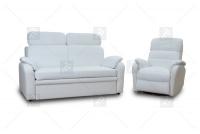 Sofa Amber - Skóra biały komplet mebli