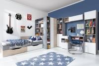 Biurko Sigma SI10 - Biały Lux + Beton + Dąb meble młodzieżowe