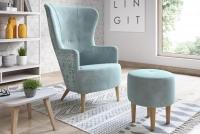 Fotel z podnóżkiem Hawk Skandynawski fotel z podnóżkiem