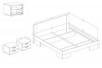 Łóżko ze stolikami 180 i opcją szuflad Vera 82 Biały/Orzech czarny łóżko vera helvetia