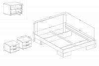 Komplet sypialniany Vera XI Dąb monastery/Czarny łóżko z płyty