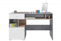 Biurko Sigma SI10 - Biały Lux + Beton + Dąb biurko młodzieżowe