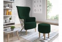 Fotel z podnóżkiem Hawk nowoczesny zestaw