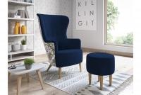 Fotel z podnóżkiem Hawk skandynawski zestaw