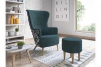 Fotel z podnóżkiem Hawk zielony fotel