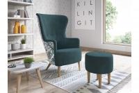 Fotel z podnóżkiem Hawk fotel z połączeniu kolorytycznym