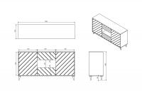 Komoda mała dwudrzwiowa z szufladami Paris  - czarny połysk