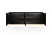 Komoda Nicole 200 cm - czarny mat / złote nóżki czarna komoda