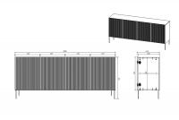 Komoda Nicole 200 cm - czarny mat / złote nóżki duża komoda