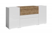 Komoda Power I Biały - sandal oak/Biały połysk - sandal oak 24BSJE26 komoda z szufladą