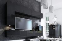 Komoda trzydrzwiowa Combo 6 - grafit/MDF czarny połysk zestaw mebli salonowych