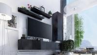 Komoda trzydrzwiowa Combo 6 - grafit/MDF czarny połysk minimalistyczne meble salonowe