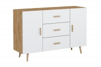 Komplet mebli do salonu Brillo Dąb Ribeck/Biały mat komoda z szufladami