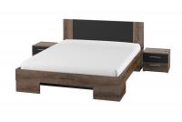 Komplet sypialniany Vera XI Dąb monastery/Czarny łóżko z szafkami