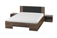 Komplet sypialniany Vera XI Dąb monastery/Czarny łóżko z materacem