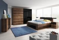 Łóżko 160 Galaxy 51 Dąb monastery - czarny połysk 24ZBEA sypialnia z łóżkiem połysk
