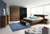 Łóżko 160 Galaxy 51 Dąb monastery - czarny połysk 24ZBEA łóżko z szufladą