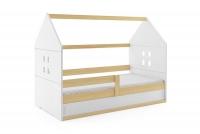 Łóżko domek parterowe Karolek Sosna/Biel 80 x 160 łóżeczko domek