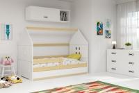 Łóżko domek parterowe Karolek Sosna/Biel 80 x 160 łóżeczko dziecięce