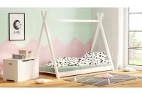 Łóżko dziecięce drewniane Tipi łóżeczko białe