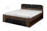 Łóżko 160 Galaxy 51 Dąb monastery - czarny połysk 24ZBEA łóżko z tapicerowanym wezgłowiem