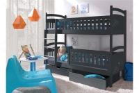 Łóżko piętrowe Ania II 90 x 200 Certyfikat łóżko piętrowe z szufladami grafit