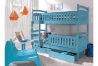Łóżko piętrowe Ania II 90 x 200 Certyfikat łóżko piętrowe z szufladami niebieski