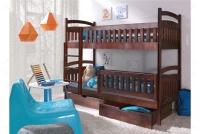 Łóżko piętrowe Ania II 90 x 200 Certyfikat łóżko piętrowe z szufladami brąz