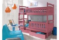 Łóżko piętrowe Ania II 90 x 200 Certyfikat łóżko piętrowe z szufladami różowy