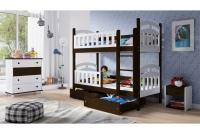 Łóżko piętrowe drewniane 2 osobowe Nati łóżko w kolorze czekoladay