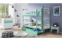 Łóżko piętrowe drewniane 2 osobowe Nati łózko dziecięce z barierkami