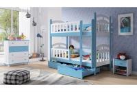 Łóżko piętrowe drewniane 2 osobowe Nati niebieski łózko