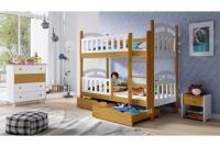 Łóżko piętrowe drewniane 2 osobowe Nati łózko dziecięce drewniane