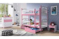 Łóżko piętrowe drewniane 2 osobowe Nati rożowe łóżko