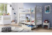 Łóżko piętrowe drewniane 2 osobowe Nati bezpieczne łózko piętrowe