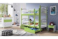 Łóżko piętrowe drewniane 2 osobowe Nati zielone łóżko piętrowe