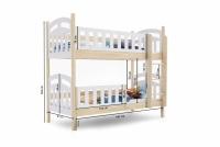 Łóżko piętrowe drewniane 2 osobowe Nati