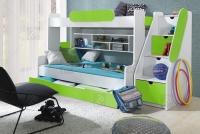 Łóżko piętrowe Segan łózko z zielonymi wstawkami
