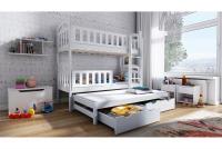 Łóżko piętrowe wysuwane 3 osobowe Nati białe łóżko piętrowe drewniane