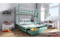 Łóżko piętrowe wysuwane 3 osobowe Nati łóżko w kolorze pastelowym