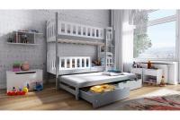 Łóżko piętrowe wysuwane 3 osobowe Nati szare łózko piętrowe