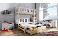 Łóżko piętrowe wysuwane 3 osobowe Nati waniliowe łózko