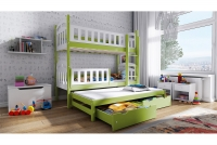 Łóżko piętrowe wysuwane 3 osobowe Nati zielone łóżko piętrowe