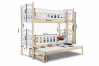Łóżko piętrowe wysuwane 3 osobowe Nati