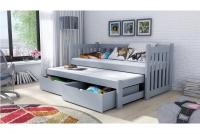 Łóżko dziecięce Swen wyjazdowe DPV 002 Certyfikat łózko drewniane szare