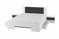 Łóżko ze stolikami 180 i opcją szuflad Vera 82 Biały/Orzech czarny łóżko z szufladami